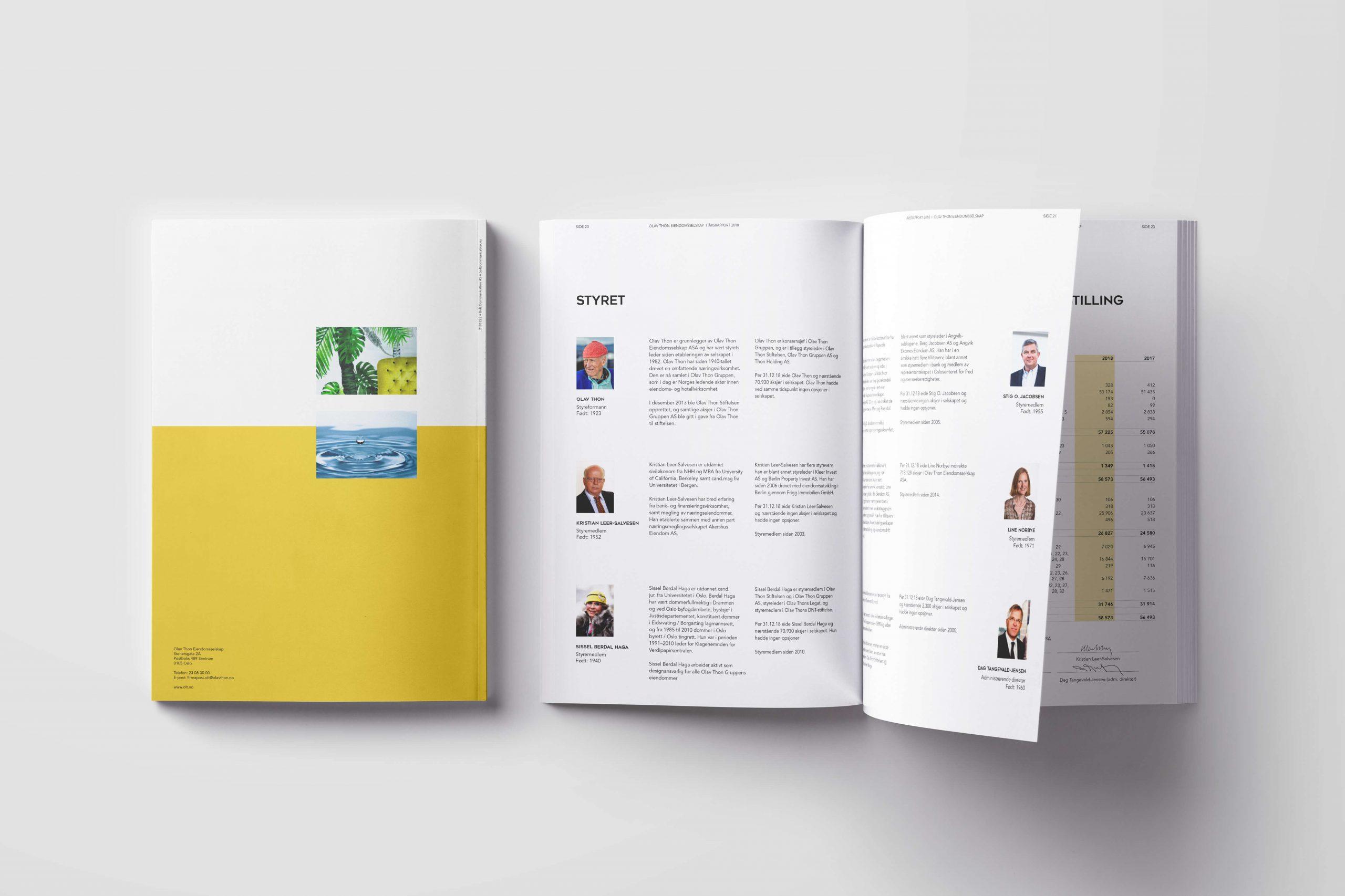 Design av årsrapport for Olav Thon Eiendomsselskap Mockup av forside og en oppslagsside