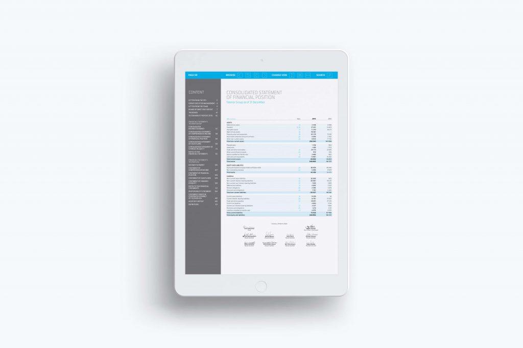 Telenor årsrapport 2019 vist på iPad