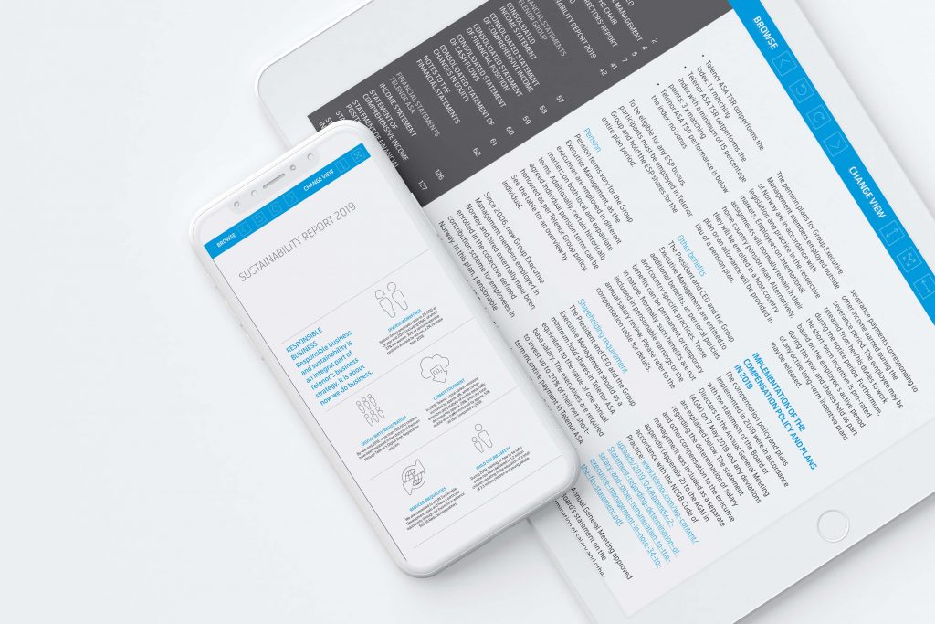 Telenor årsrapport 2019 vist på iPhone og iPad