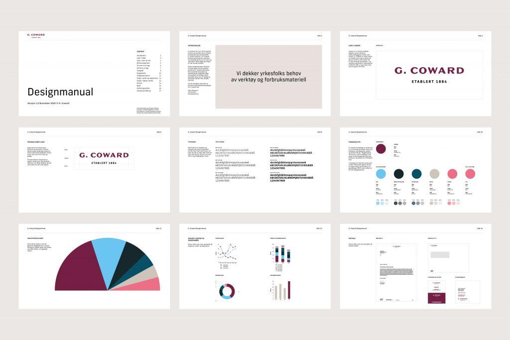 Grafisk profil for G. Coward diverse sider fra designmanualen