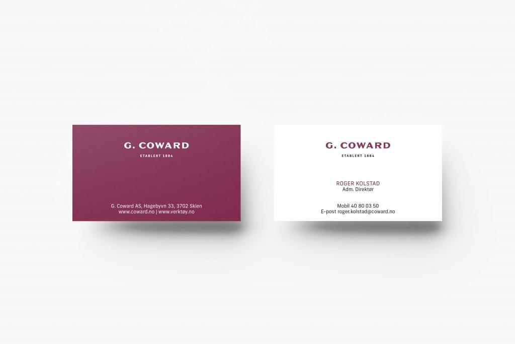 Grafisk profil for G. Coward mockup av visittkort
