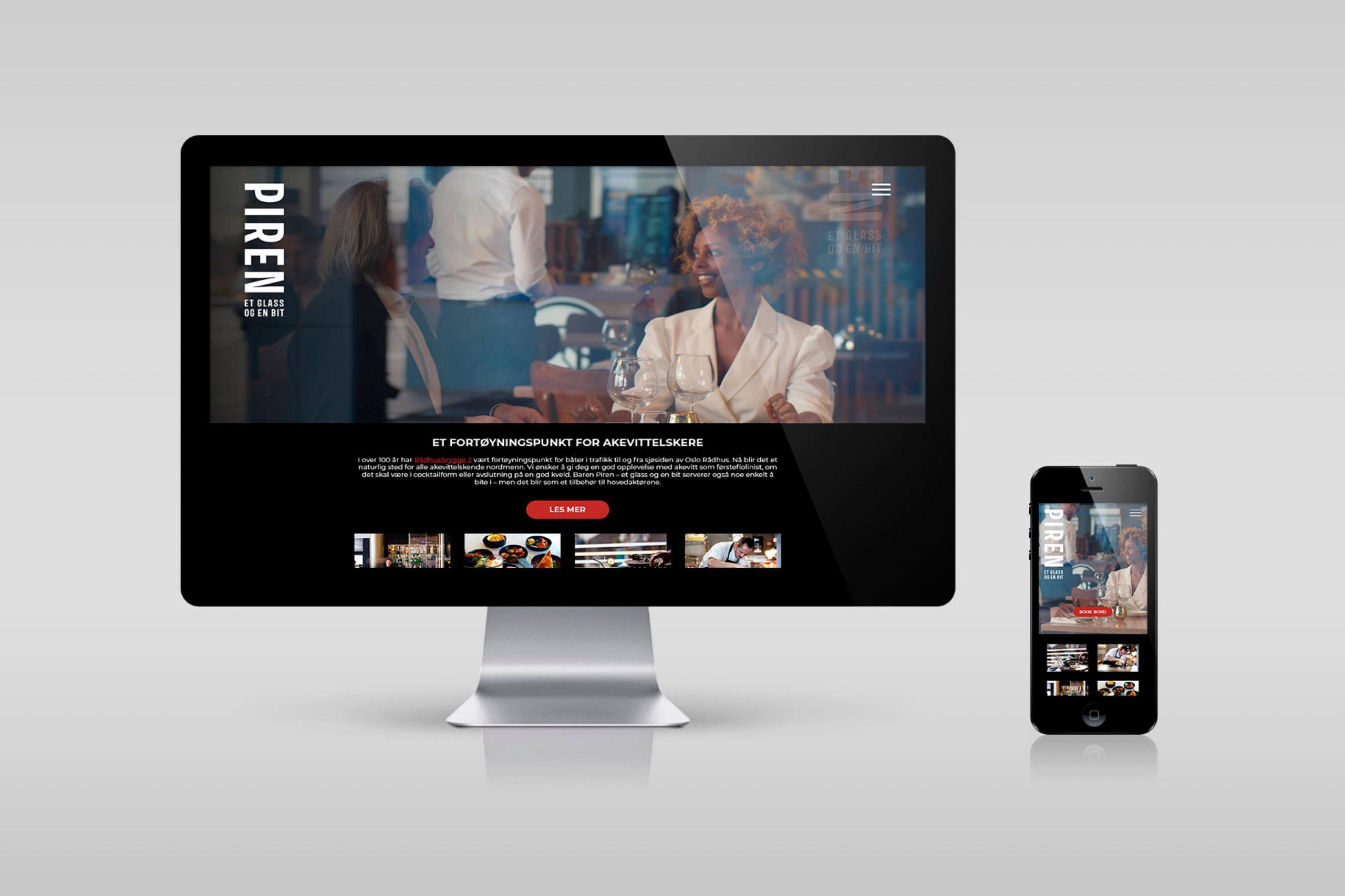 PIREN nettside vist på en MAC og Iphone
